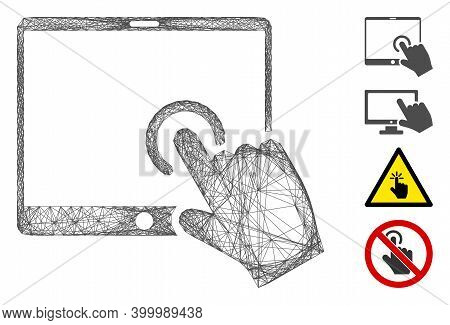 Vector Network Hand Touch Pda. Geometric Wire Frame 2d Network Made From Hand Touch Pda Icon, Design