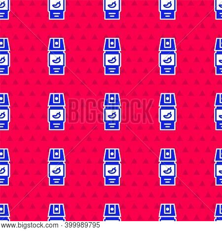 Blue Pepper Spray Icon Isolated Seamless Pattern On Red Background. Oc Gas. Capsicum Self Defense Ae
