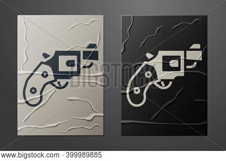 White Small Gun Revolver Icon Isolated On Crumpled Paper Background. Pocket Pistol For Self-defense.