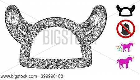 Vector Wire Frame Horned Helmet. Geometric Wire Frame Flat Network Made From Horned Helmet Icon, Des