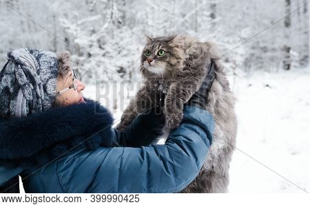 Woman Holding A Fluffy Cat Outside In The Winter Forest. Hostess Looking At Her Cat. Siberian Breed