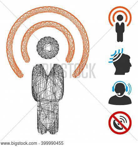 Vector Wire Frame Human Radio Source. Geometric Wire Carcass Flat Net Made From Human Radio Source I