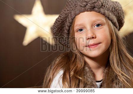 Portrait Of Cute Girl Wearing Slouchy Beanie.