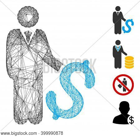 Vector Network Investor. Geometric Linear Carcass Flat Network Made From Investor Icon, Designed Fro