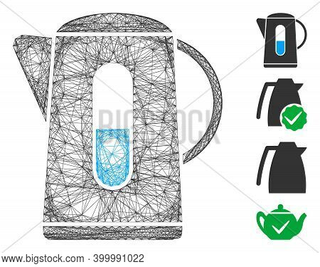 Vector Wire Frame Kettle. Geometric Wire Frame 2d Net Generated With Kettle Icon, Designed With Cros
