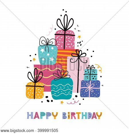 Birthday Greeting Cards Design In Vector. Bday Holiday Banner Template With Happy Birthday Typograph