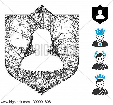 Vector Network Lord Shield. Geometric Linear Carcass 2d Network Generated With Lord Shield Icon, Des