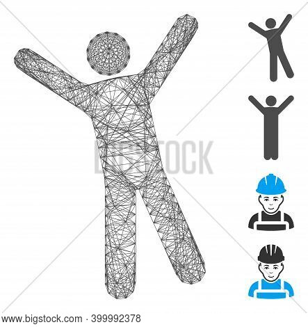 Vector Network Man Joy. Geometric Hatched Frame Flat Network Made From Man Joy Icon, Designed From C