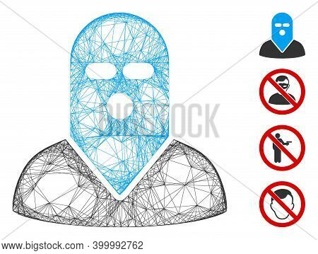 Vector Wire Frame Masked Killer. Geometric Wire Frame 2d Net Generated With Masked Killer Icon, Desi