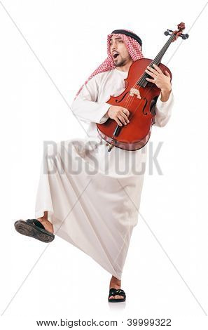 Arab man playing violin isolated on white poster