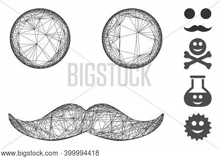 Vector Wire Frame Mustaches Smiley. Geometric Wire Carcass 2d Network Generated With Mustaches Smile