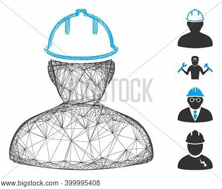 Vector Network Person In Hardhat. Geometric Wire Carcass Flat Network Generated With Person In Hardh