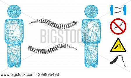 Vector Net Persons Worms Exchange. Geometric Linear Frame 2d Net Generated With Persons Worms Exchan