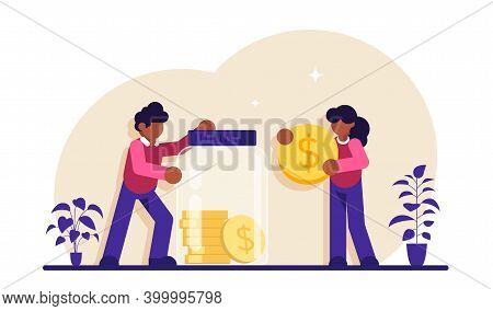 Safe Money Concept. Glass Jar With Coins. Family Couple Saving Money. Man And Woman Inserting Cash I