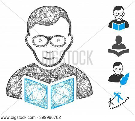 Vector Wire Frame Reader Student. Geometric Wire Frame 2d Network Based On Reader Student Icon, Desi