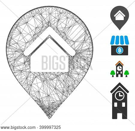 Vector Net Residence Marker. Geometric Linear Carcass 2d Net Generated With Residence Marker Icon, D