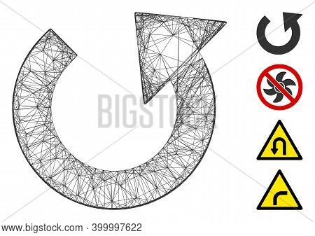 Vector Net Rotate Ccw. Geometric Hatched Frame Flat Network Made From Rotate Ccw Icon, Designed From