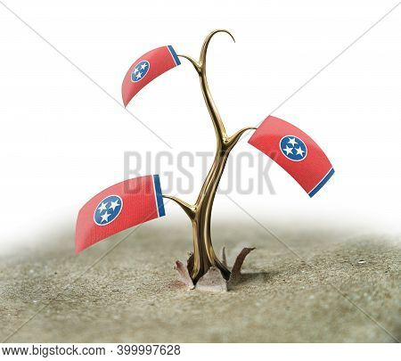 3d Illustration. 3d Sprout With Tennessee Flag On White