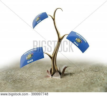 3d Illustration. 3d Sprout With Wisconsin Flag On White