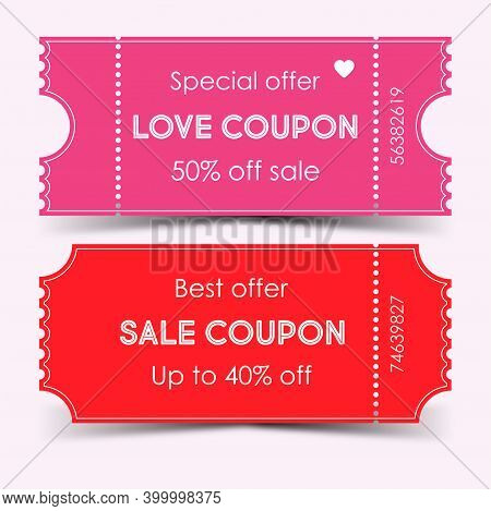 Discount Coupon Design, Special Offer. Valentines Day Coupon, Love Coupon. Vector Illustration