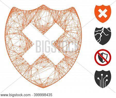Vector Net Security Shield Fail. Geometric Linear Carcass 2d Net Generated With Security Shield Fail