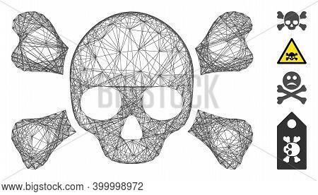 Vector Network Skull Crossbones. Geometric Linear Frame 2d Network Generated With Skull Crossbones I