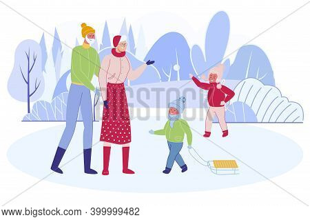 Grandchildren Spending Time Outdoors With Grandmother And Grandfather At Winter Time. Little Boy And