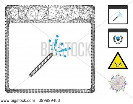 Vector Wire Frame Sparkler Firecracker Calendar Page. Geometric Hatched Frame 2d Net Generated With