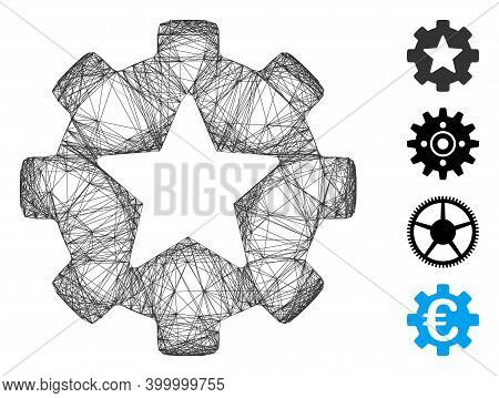 Vector Net Star Favorites Options Gear. Geometric Hatched Frame Flat Net Made From Star Favorites Op