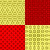 Set of Oriental Chinese New Year Seamless Pattern Background poster
