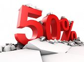 50 percent discount breaks ground poster