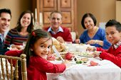 Multi Generation Family Celebrating With Christmas Meal poster