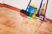 House cleaning -Cleaning accessories on floor room poster