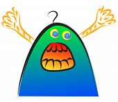 funny doodle scary monster cartoon vector illustration poster