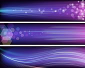 Three vector shiny purple banners with neon rays. poster