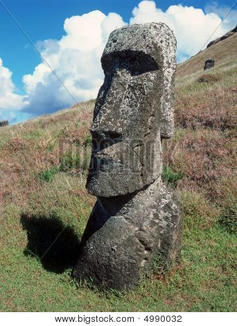 Moais of Ahu Akivi inland on the UNESCO World Heritage of Easter Island Chile poster