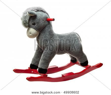 Plush rocking toy donkey isolated on white