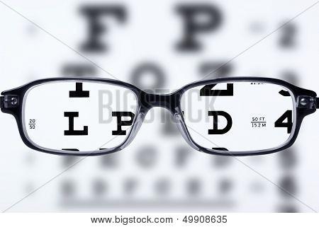 Reading eyeglasses and eye chart