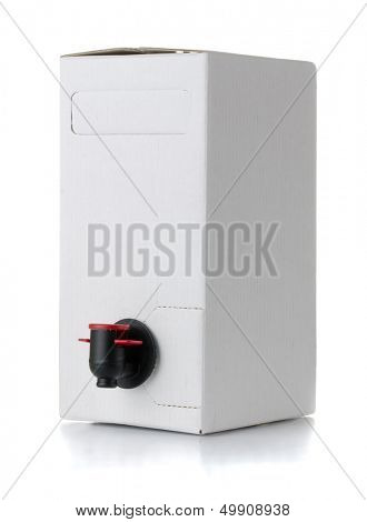 Cardboard blank wine box isolated on white