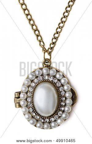 Vintage pearl locker isolated on white