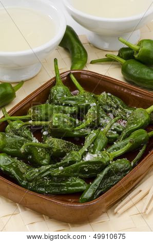 Fried Green Peppers. Pimientos Del Padron. Spanish Cuisine.