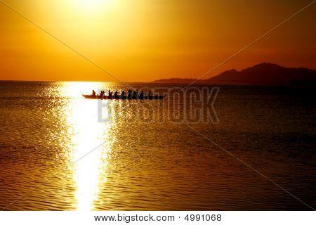 Ocean Row At Sunset