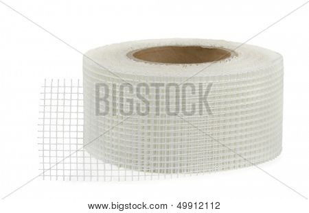 Fiberglass self-adhesive mesh tape isolated on white
