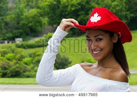 Pretty Canadian Girl In A Red Hat