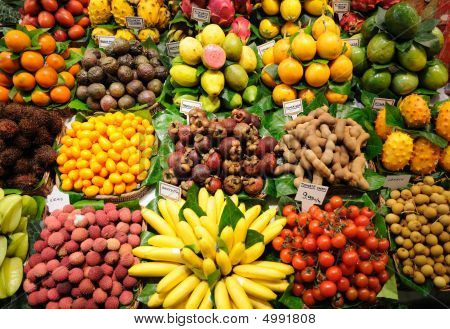 Fruits Stand At Market In Barcelona