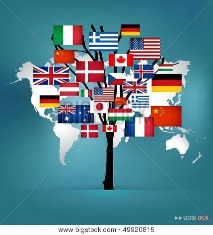 World flag tree concept. Vector illustration.