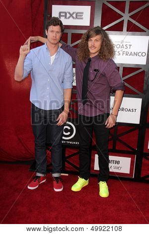 LOS ANGELES - AUG 25:  Anders Holm, Blake Anderson at the Comedy Central Roast Of James Franco at the Culver Studios on August 25, 2013 in Culver City, CA