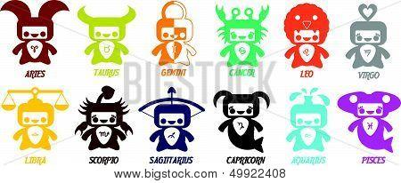 Set Of Cute Astrological Zodiac Symbols - Horoscope Signs.