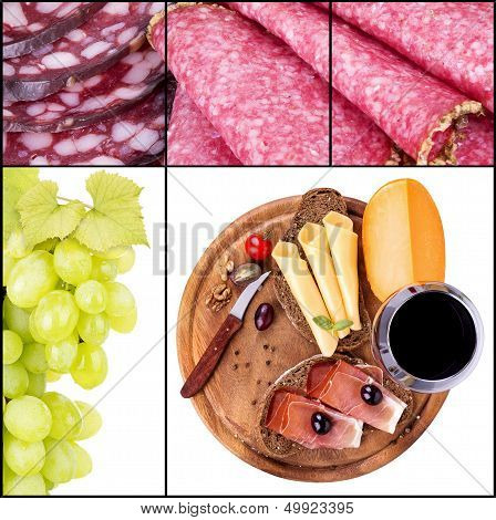 tasty collage with wine and food