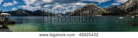 Panorama Of Boka Kotorska Bay In Montenegro